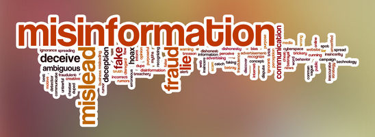 Misinformation word cloud concept with abstract background