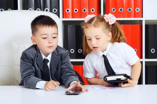 little children as a businessmen, in office
